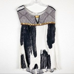 Anthropologie Floreat Abstract Black & White Top